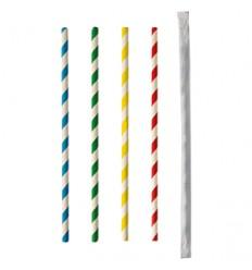 Бумажные трубочки в инд.обертке разноцветные (100 шт)