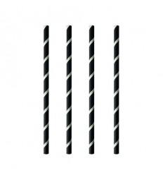 Бумажные трубочки черные в белую полоску (100 шт)