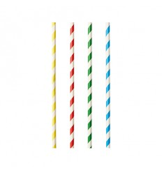 Бумажные трубочки белые в цветную полоску
