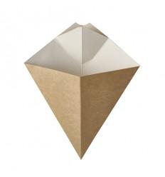 Бумажный уголок для картошки фри Крафт с выемкой для соуса (50 шт)