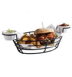 Сервировочная корзинка для картошки фри с 2-мя соусниками