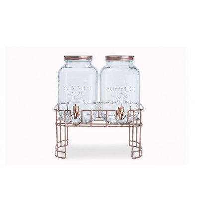 Набор из двух банок для сока/воды на подставке